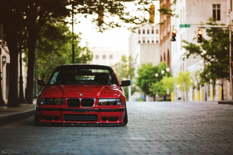 BMW E36 Red Street Cars wallpaper