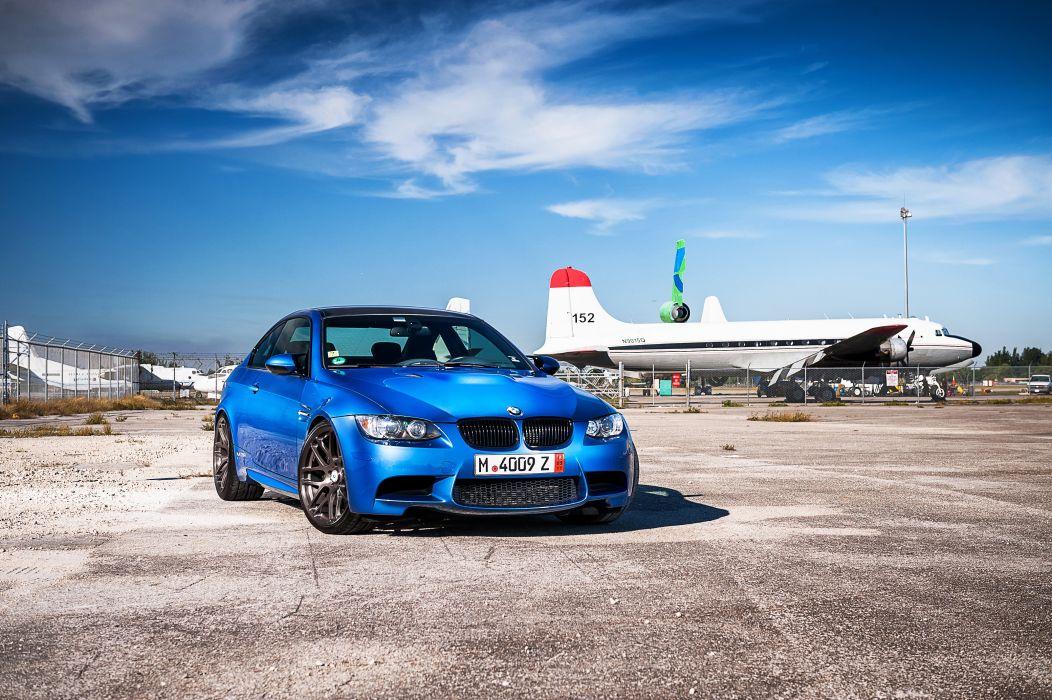 BMW Sky m3 e92 Light Blue Front Asphalt Cars wallpaper