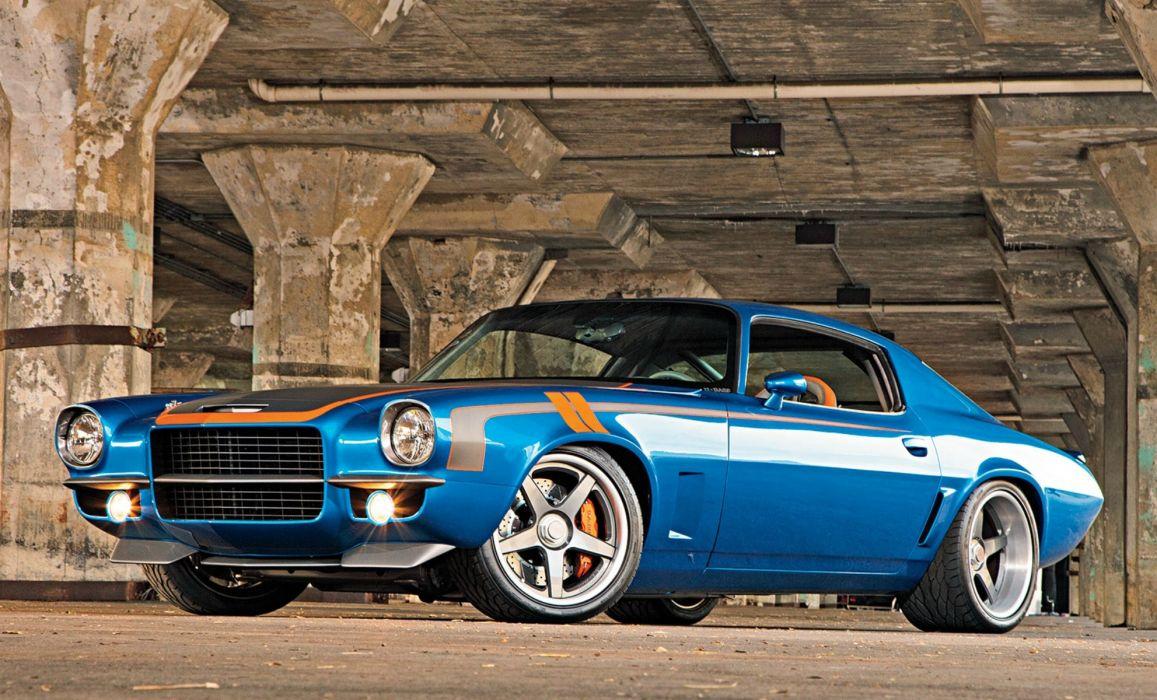 Chevrolet 1971 Camaro Blue Cars wallpaper