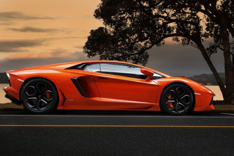Lamborghini aventador lp700-4 Orange Side Luxury Cars wallpaper