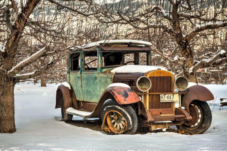 Retro Old Snow Cars wallpaper