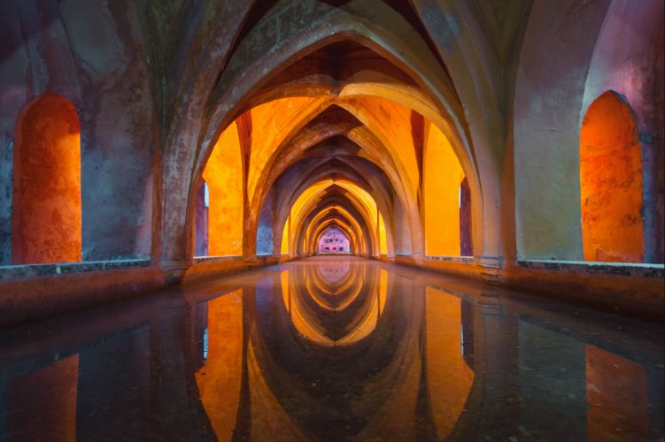 architecture beautiful church colour colourful design hallway old passage way reflection spain temple water well tylerhendy wallpaper