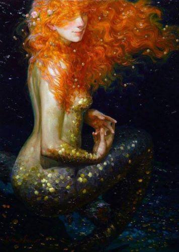 fantasy mermaid red hair beautiful original art wallpaper