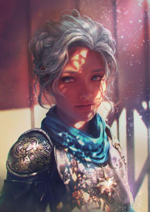Fantasy Art Woman Warrior Blue Eyes Beautiful White Hair