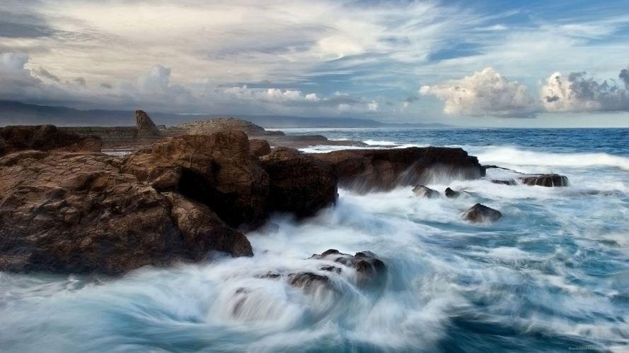 oceano rocas naturaleza nubes wallpaper