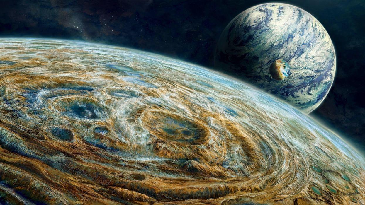 tres planetas espacio naturaleza wallpaper