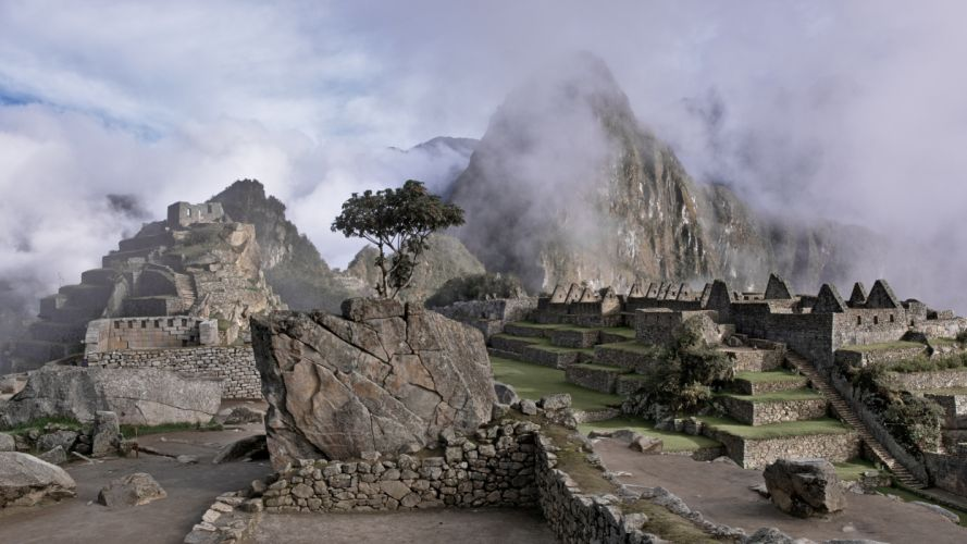 ancient architecture clouds fog foggy hazy historical landscape machu picchu mist misty mountain murky outdoors peru rocks ruins scenic stone wall stones tourism tourist attraction travel tree wallpaper