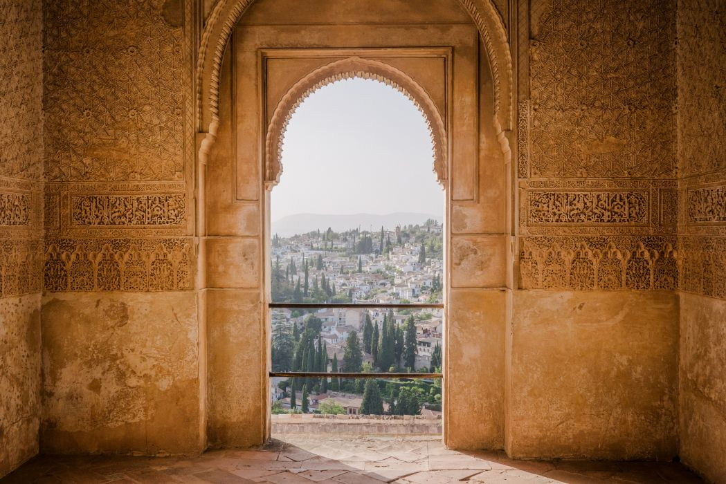 alhamba ancient arch architecture art building concrete surface door gothic stone stone carving traditional travel view view point wall wallpaper