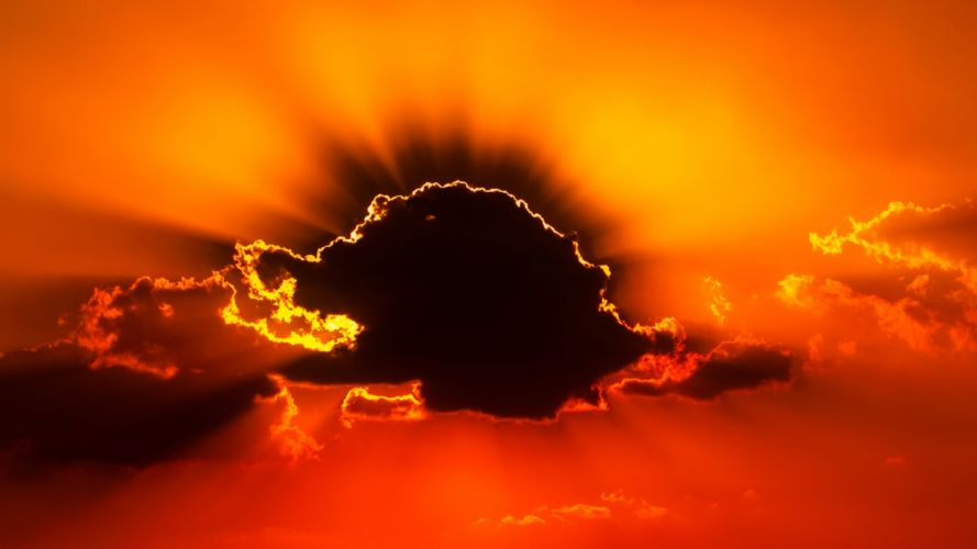 backlit bright clouds color dark dawn dramatic dusk evening gold golden hour landscape light luminescence nature outdoors silhouette sky storm sun sun ray sunset weather wallpaper