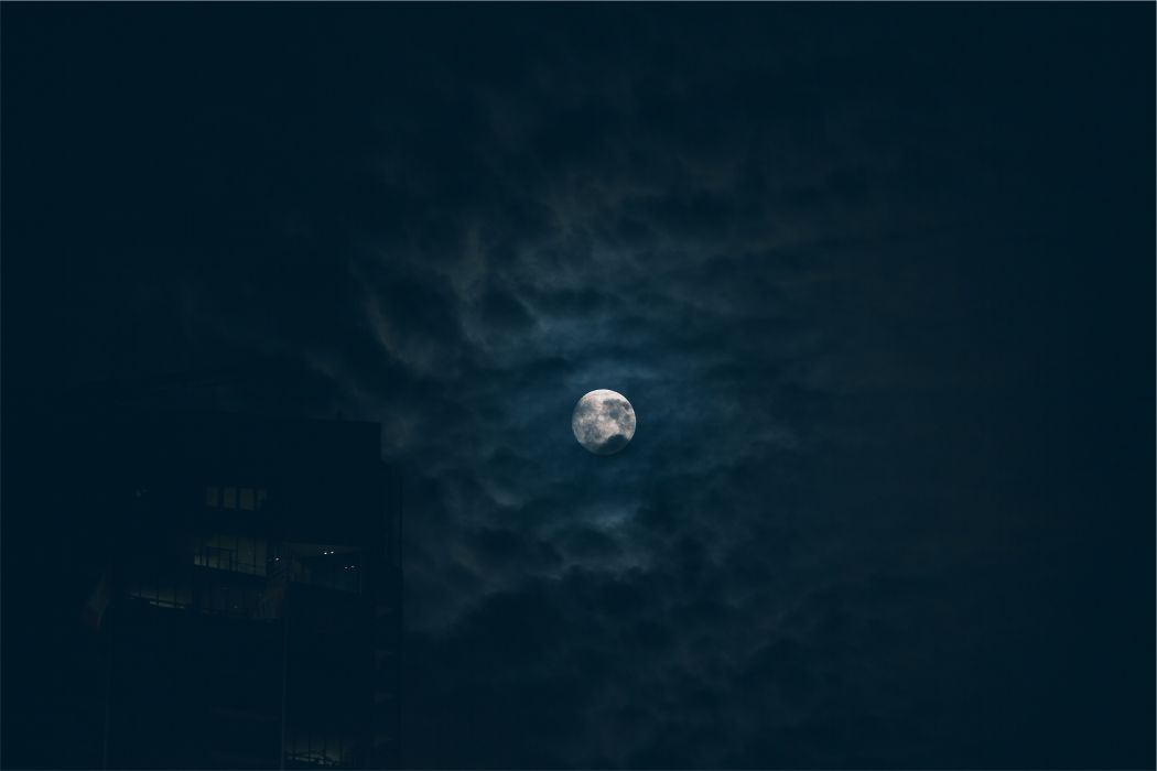 building dark clouds full moon moon night night sky silhouette sky wallpaper