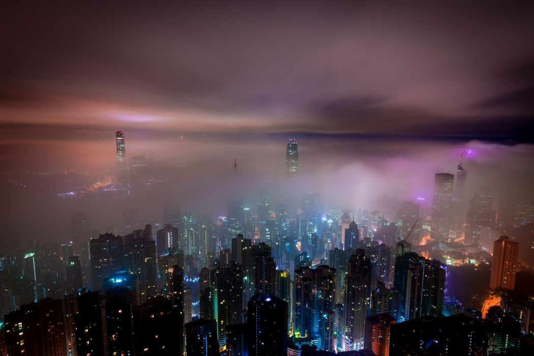 buildings city city lights cityscape clouds dark evening finance foggy hazy illuminated misty modern murky night sky skyscrapers urban wallpaper