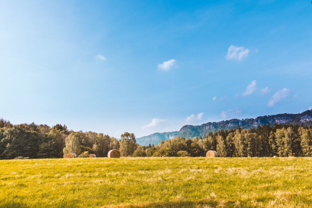blue clouds countryside cropland fall farm field forest grass green hay bales hayfield landscape mountain nature outdoors pasture rural scenery scenic sky summer sun travel trees wallpaper
