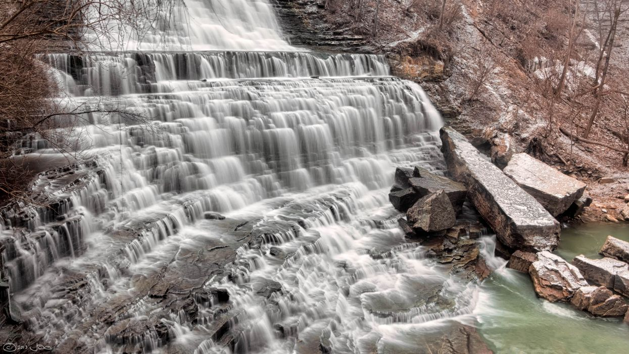 boulder cascade cold environment flow high angle shot landscape motion outdoors river rocks splash stone stream time-lapse travel trees water waterfall wet royalty free images wallpaper