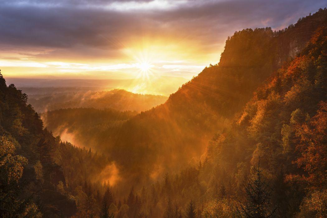 beautiful clouds cloudy dawn dramatic dusk fall foggy forest hazy hills idyllic landscape light misty murky outdoors scenery scenic sky sun sunlight sunrays sunrise sunset trees woods wallpaper