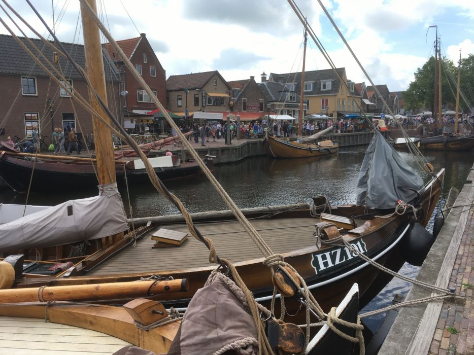 Spakenburg Netherlands Harbour Botter Flatbottom Fishingboat HZ101 a wallpaper