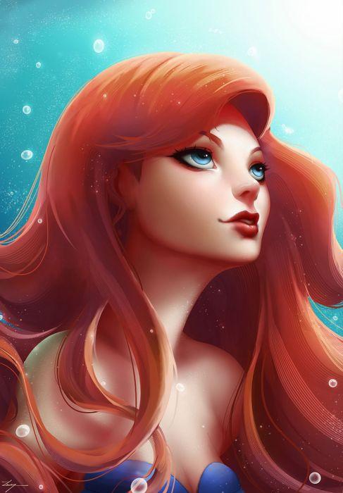 ariel the little mermaid disney princess fanart water ariel red hair underwater wallpaper