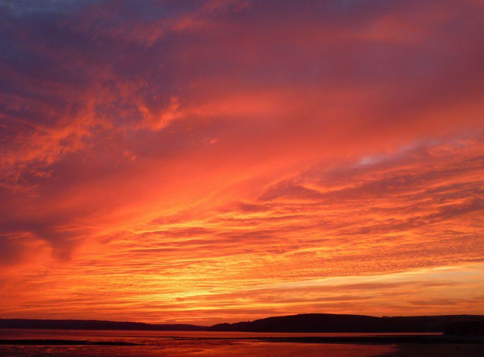 clouds landscape light nature red sky sunrise sunset Wales weather wallpaper