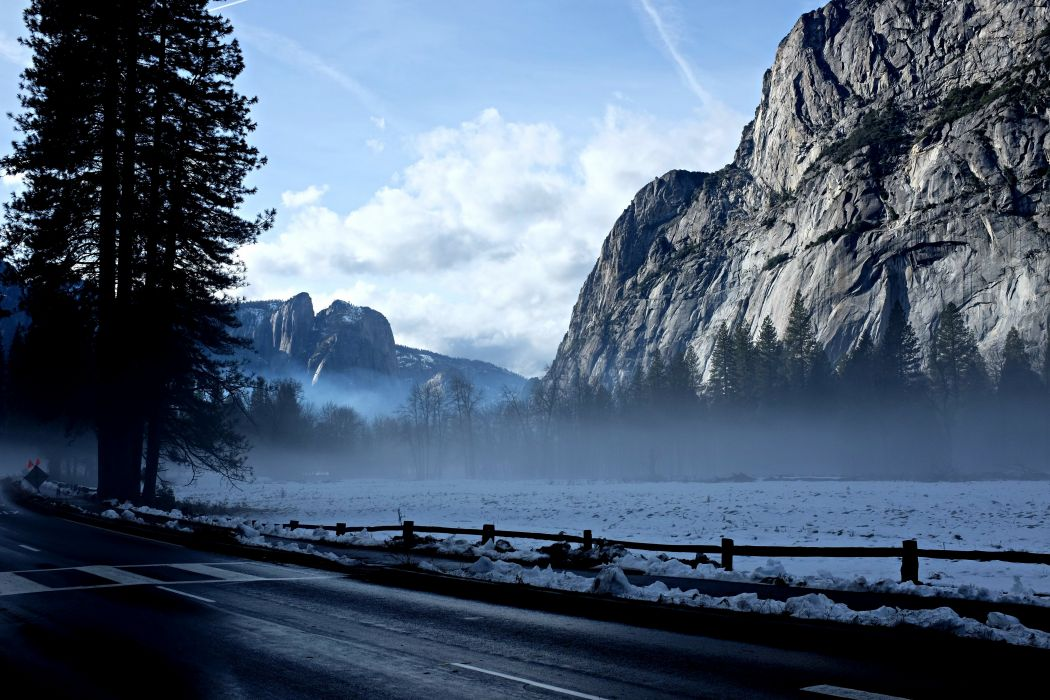 cloudy cold conifers dawn dusk fog foggy frost frozen hazy ice lake landscape light mist misty mountain nature outdoors river road scenic snow sunset travel water weather winter woods wallpaper