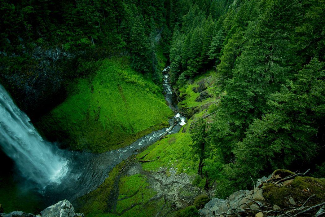 creek landscape moss mountain nature outdoors river rocks scenic stream trees water waterfall woods wallpaper