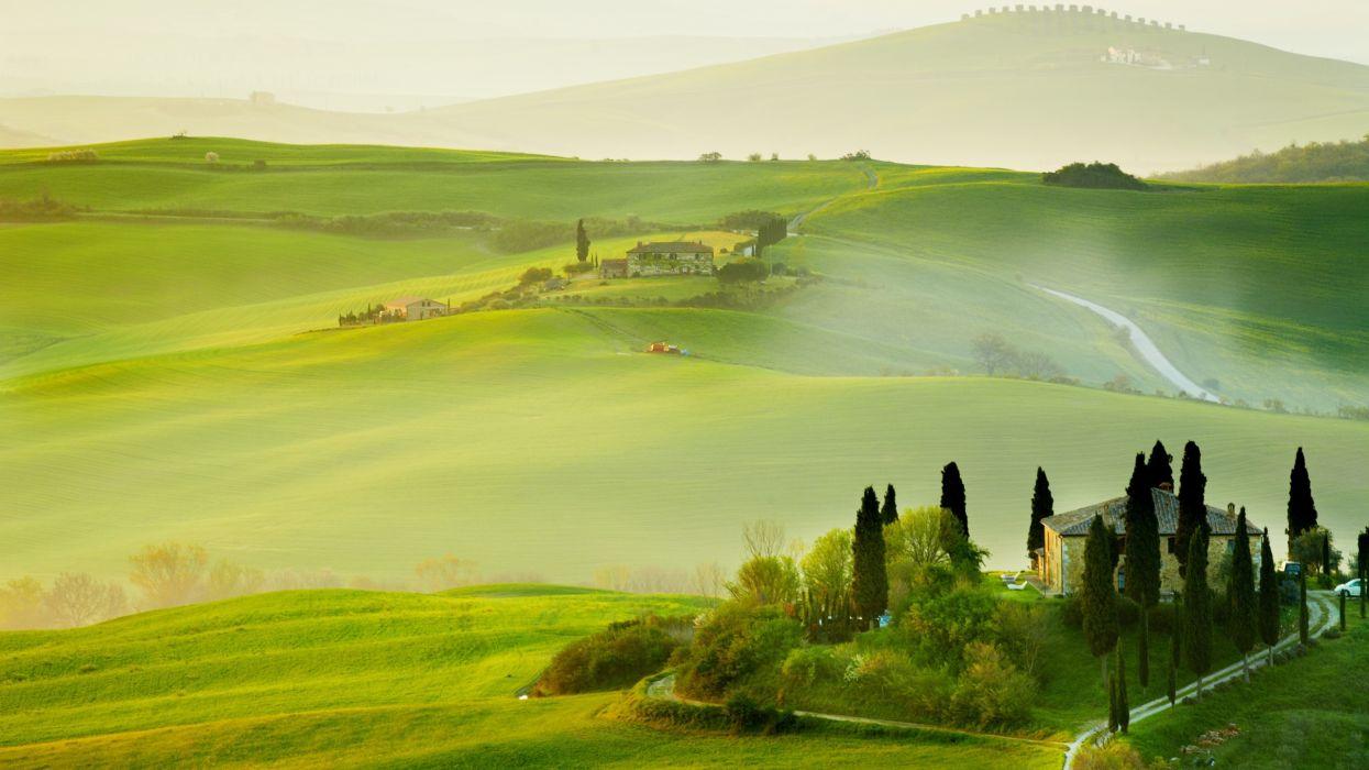 verano toscana italia prado laderas naturaleza wallpaper