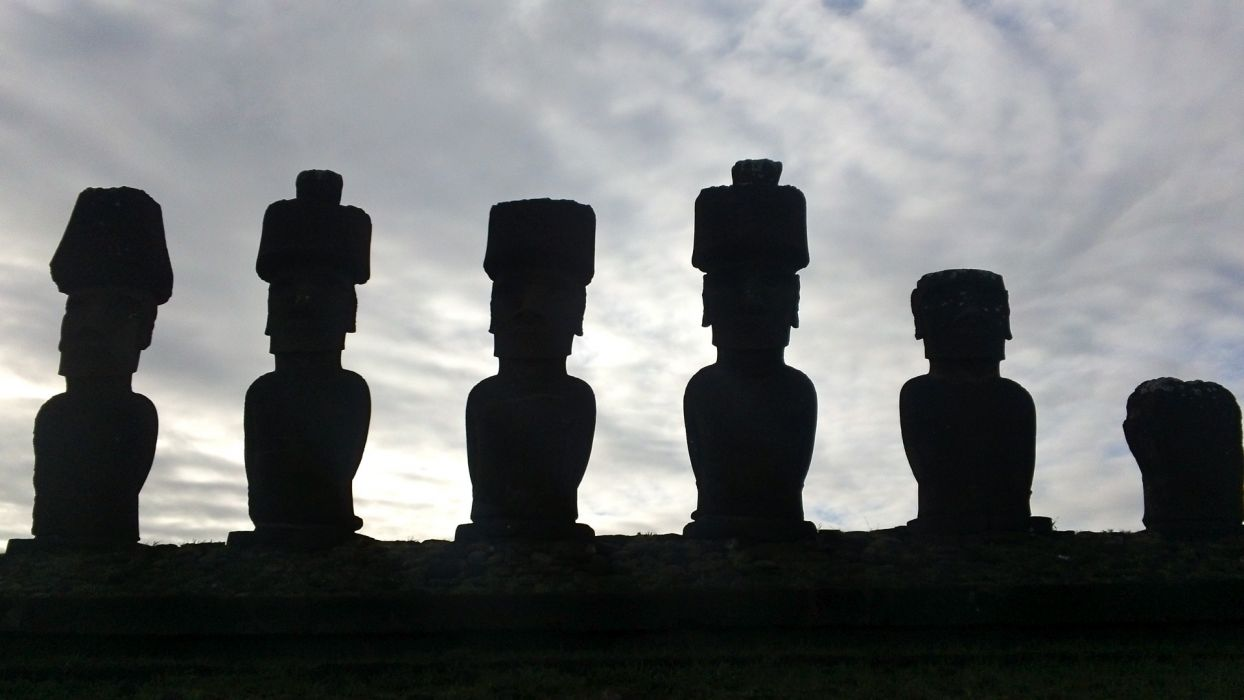 ancient culture easter island historic historical history island landmark moai monument old rock ruins sculpture silhouette statue stone structure wallpaper
