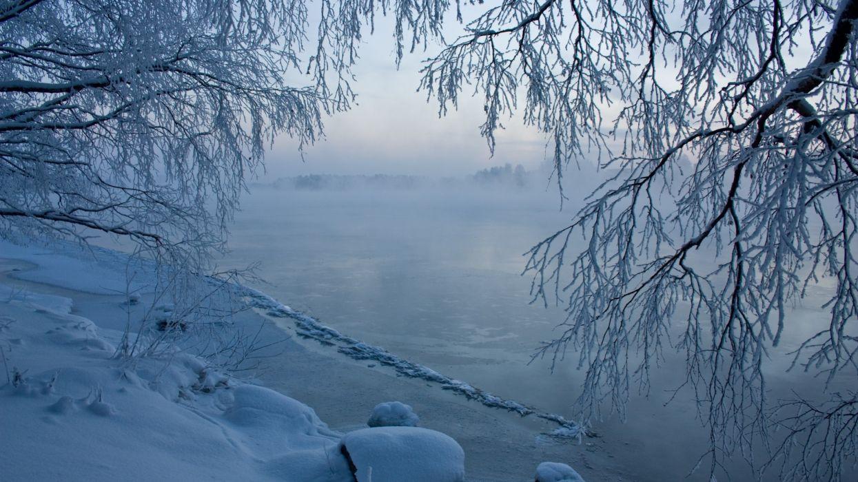 rio helado invierno naturaleza wallpaper