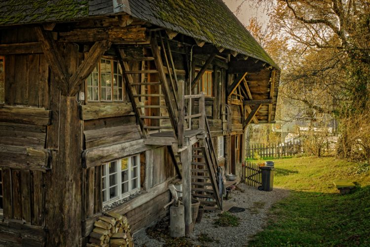 abandoned architecture barn broken building cabin countryside farmhouse grass land home house leaves logs old outdoors roof rustic stairs trees vintage windows wood wooden cabin wooden fence wallpaper