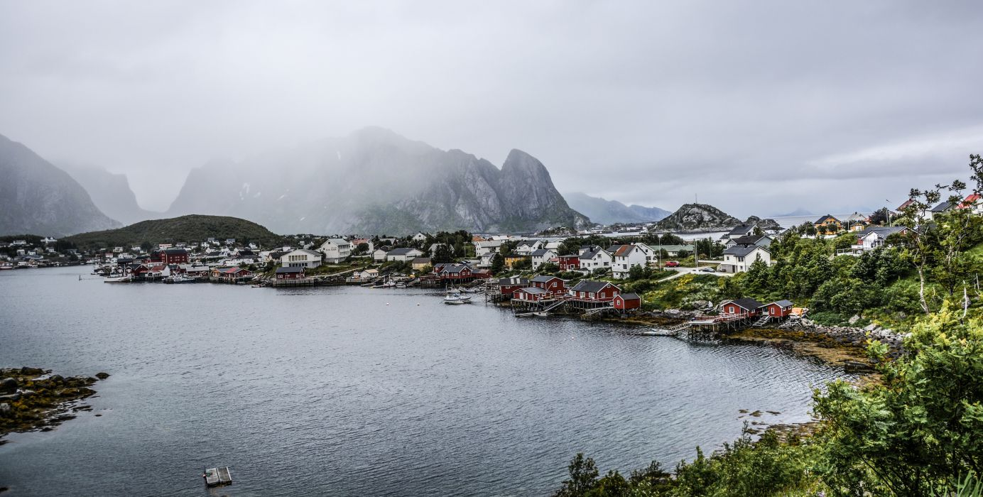 bay boat city clouds cloudy coastal land coastline community daylight fjord fog harbor harbour houses island lake landscape lofoten mountains norway wallpaper