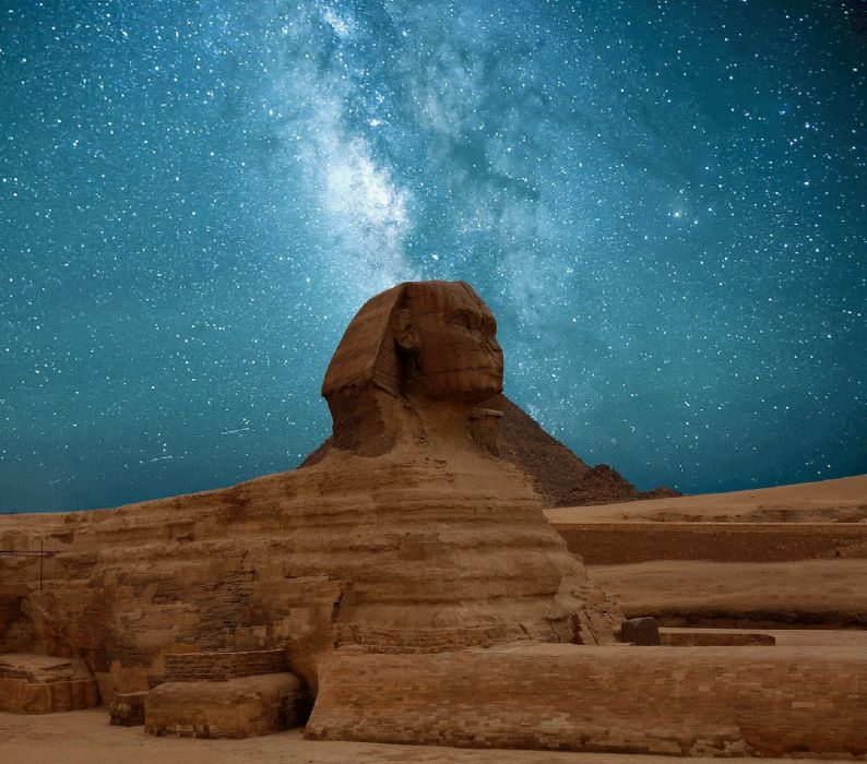 ancient architecture art cosmos dark daylight desert egypt evening evening sky famous landmark galaxy milky way monster mood nature night night sky pyramids rock sand wallpaper