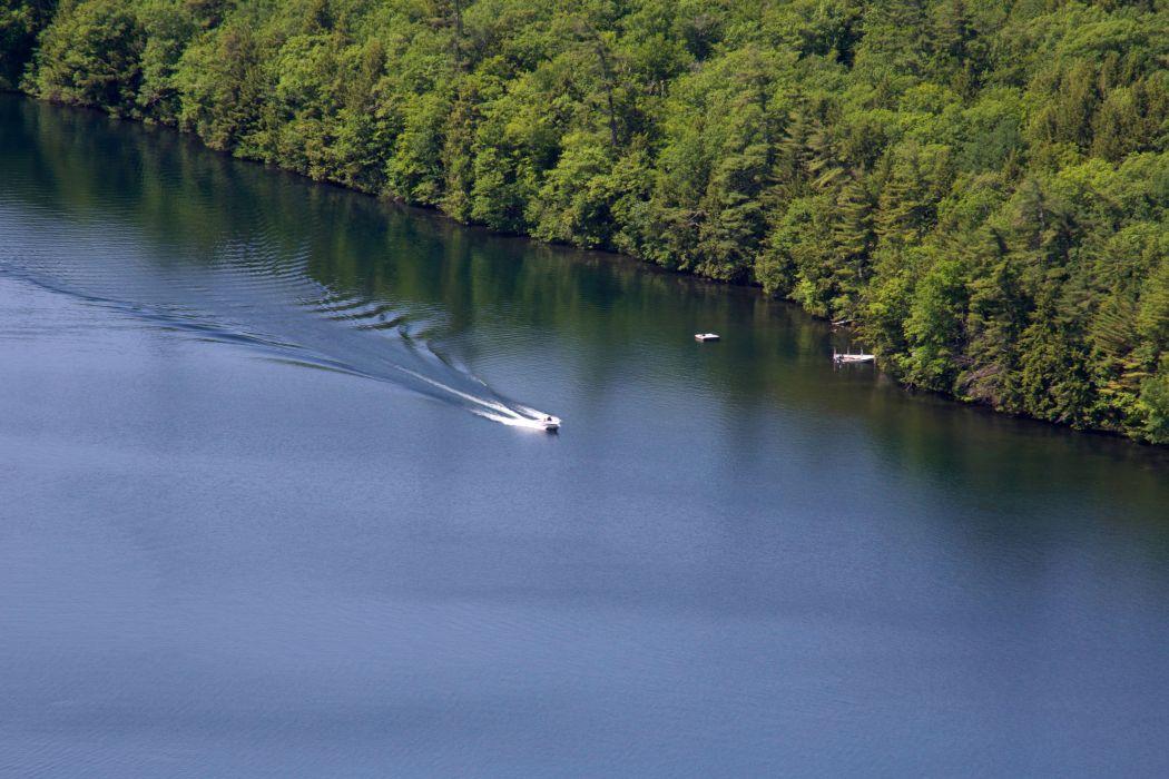 boat fjord lake river trees wallpaper