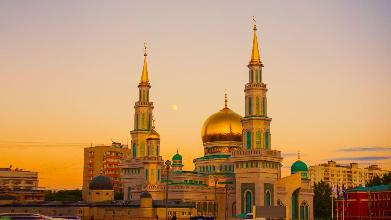 ancient architecture building cathedral church city dome dusk islam landmark minaret monument moscow moscow cathedral mosque mosque outdoors panorama wallpaper