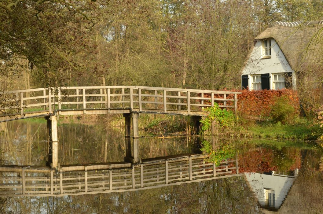 architecture bridge building cottage countryside family farm fence foliage grass home house landscape outdoors reflection rustic scenery travel tree trees water wooden woods wallpaper