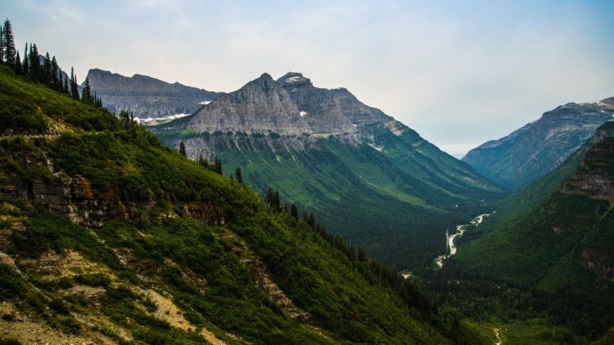 daylight forest glacier national park grass green high hike hill landscape mountains outdoors river scenic summer travel trees valley wallpaper