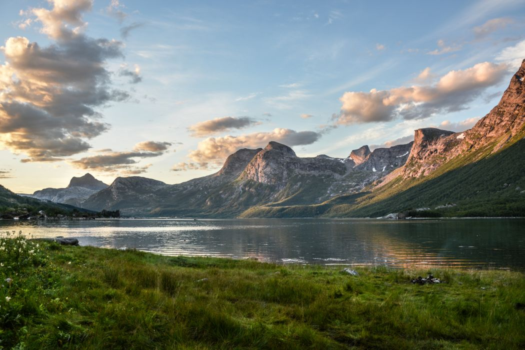 clouds daylight fjord grass lake landscape mountain mountains nature norway outdoors peaks reflection scenery scenic sea snow summer tourism travel wallpaper
