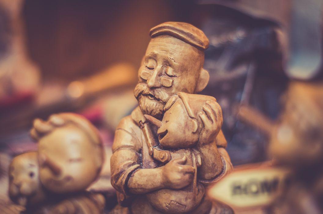 ancient art blur brown close-up cute decoration figurine pinocchio sculpture statue wooden wallpaper