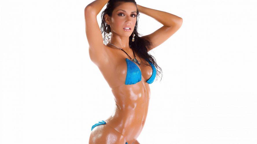 mujer morena bikini azul modelo wallpaper