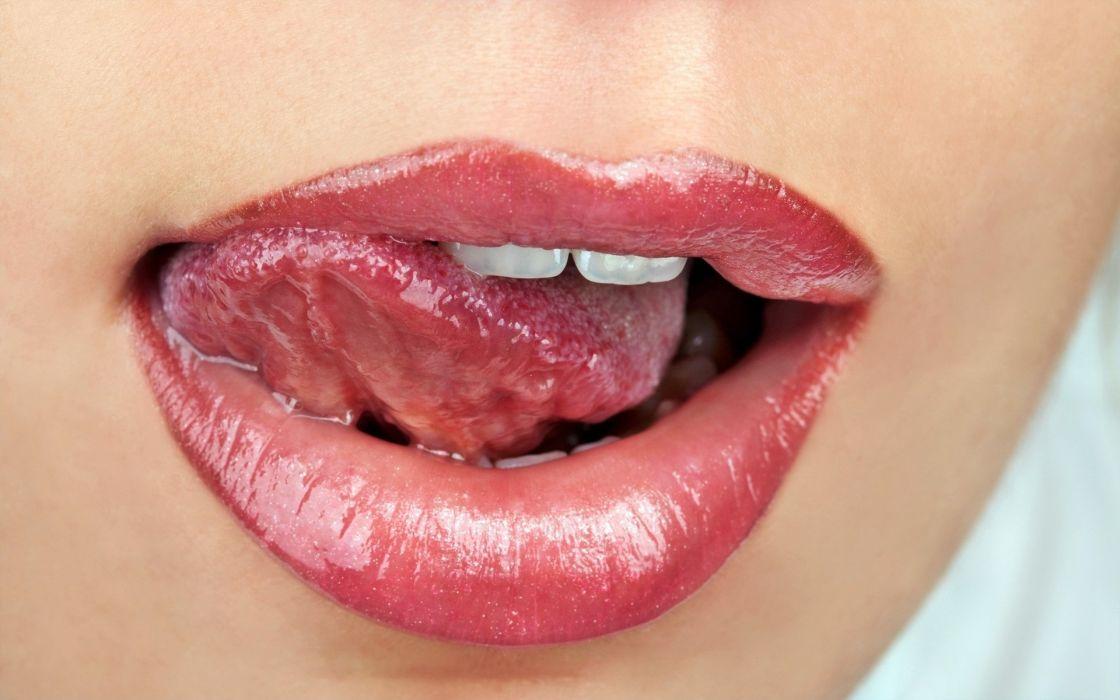 Face sensuality sensual sexy woman girl makeup mouth lips tongue teeth lipstick closeup wallpaper
