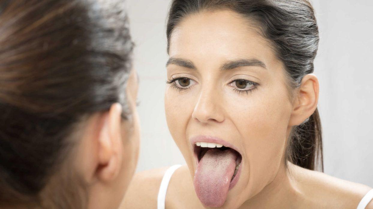 Face sensuality sensual sexy woman girl makeup mouth lips tongue teeth lipstick mirror wallpaper