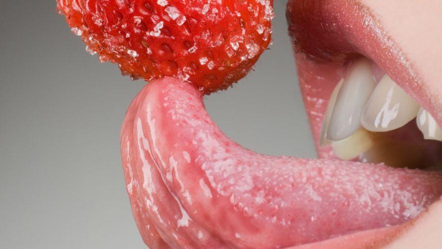 Face sensuality sensual sexy woman girl makeup mouth lips tongue teeth lipstick closeup strawberry wallpaper