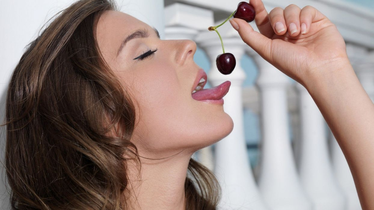 Face sensuality sensual sexy woman girl mouth lips tongue teeth lipstick cherry fruit wallpaper