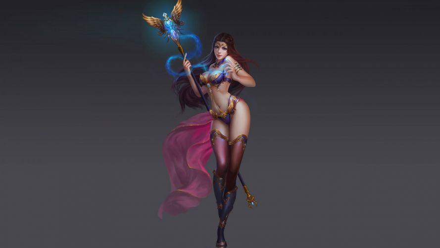 Game sensuality sensual sexy woman girl golden scepter blue crystal wallpaper