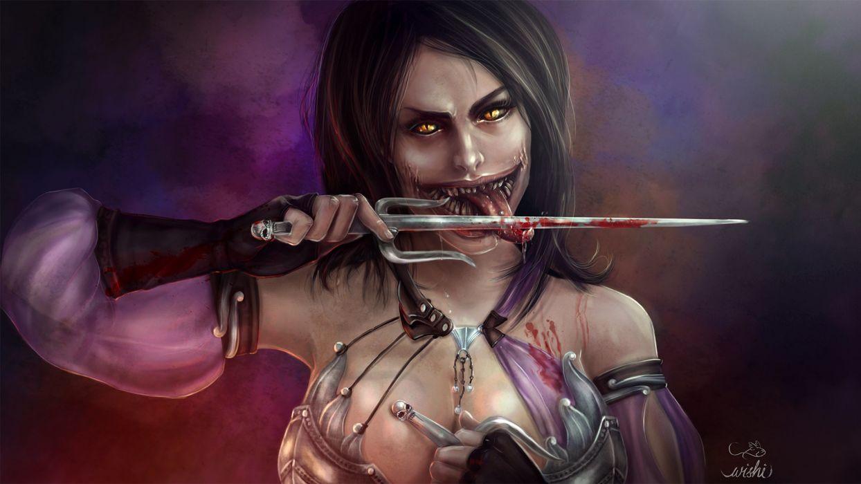 Game Sensuality Sensual Sexy Woman Girl Mileena Cutting Tongue Sword
