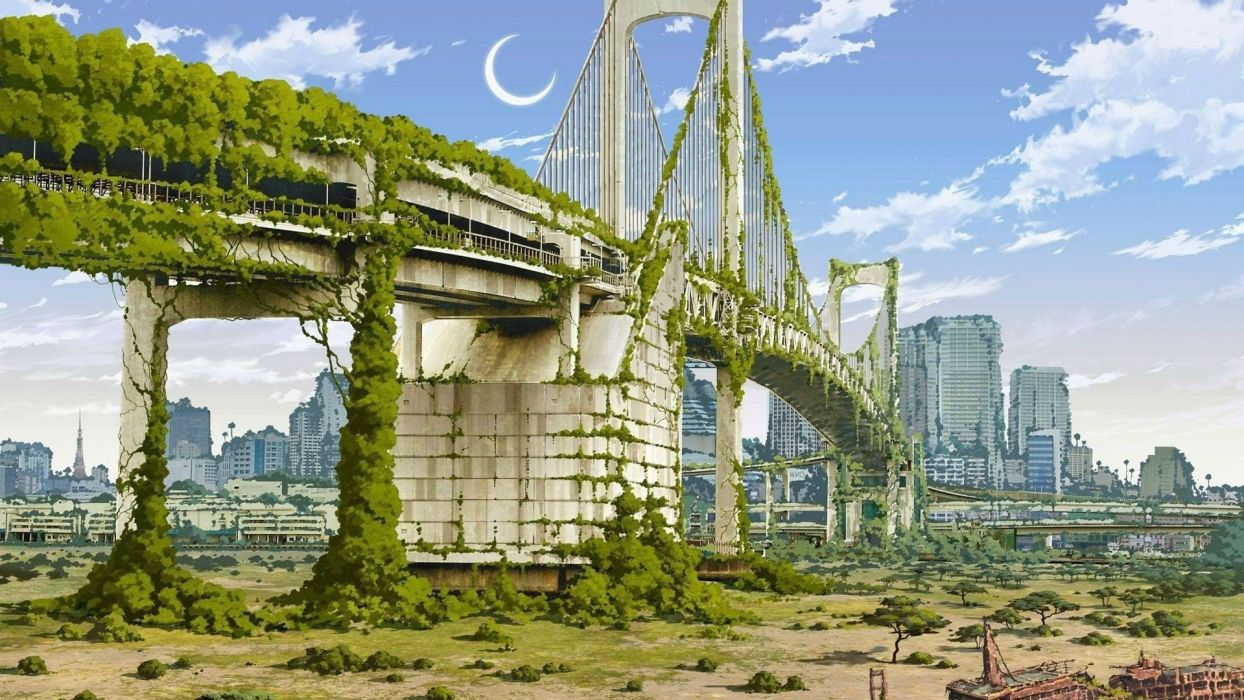 Apocalyptic Fantasy Art Artwork Nature Cities Anime Japan wallpaper
