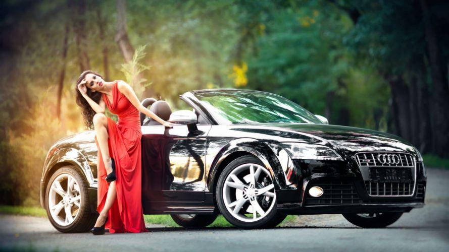 Audi negro concepto mujer vestido rojo wallpaper
