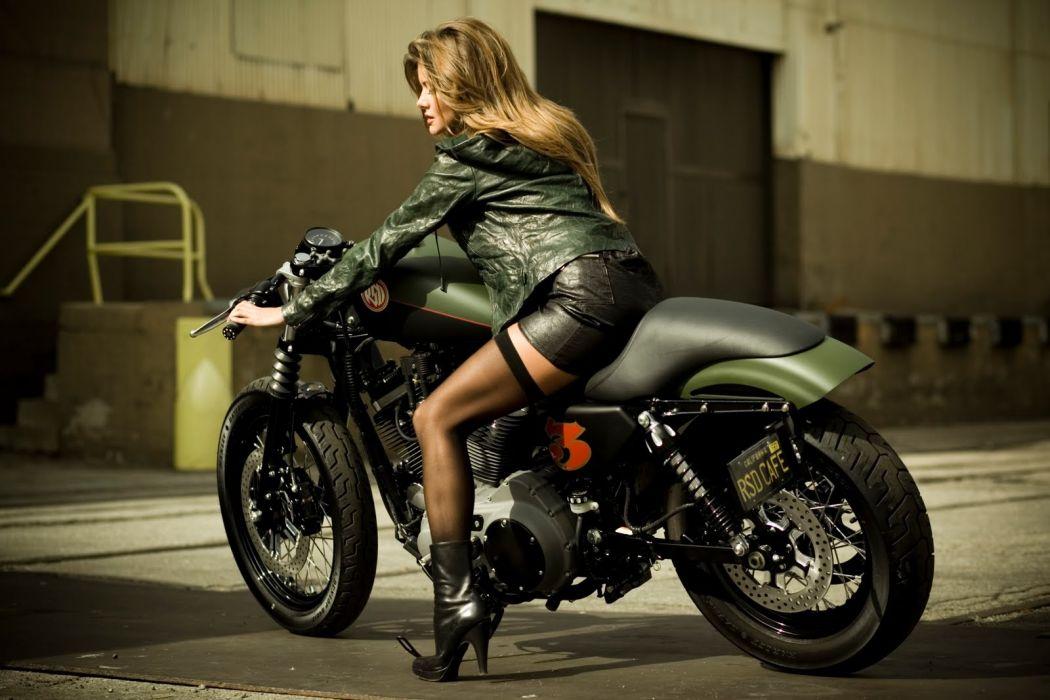 Mujer rubia harley davidson verde wallpaper | 1600x1067 | 1096229 ...