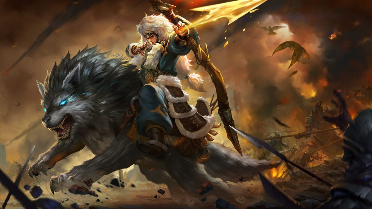 Games King Of Glory Genghis Khan Riding Wolf Weapon Bow Arrow