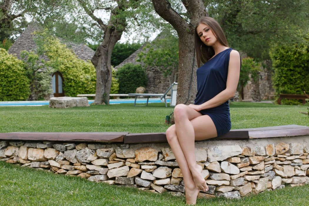 Little Caprice Stones Legs Grass Lawn Girls wallpaper