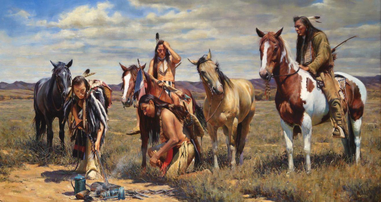 Pictorial art Horses John Fawcett Warm Coals Indians wallpaper