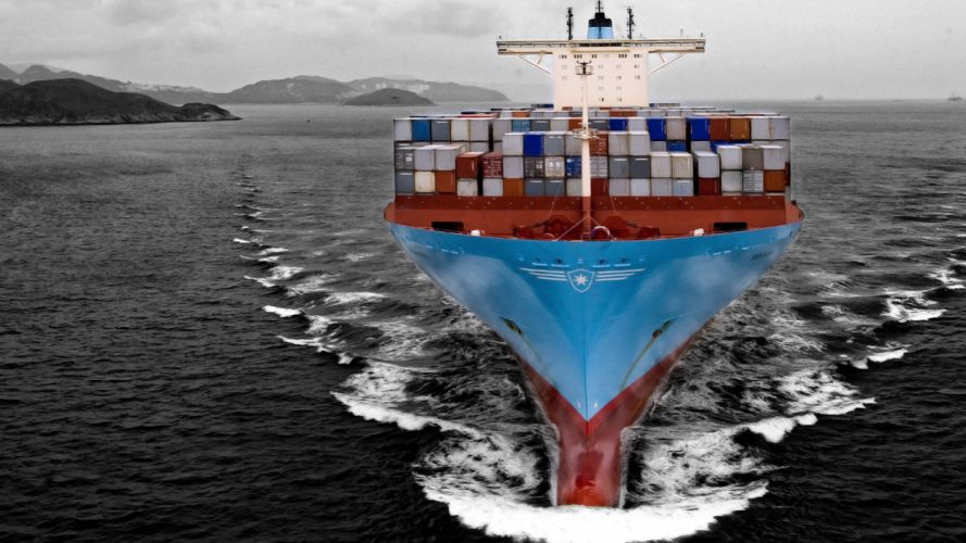 barco portacontenedores azul wallpaper