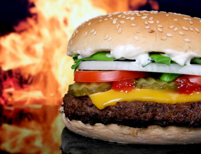 blur buns burger close-up delicious flame focus food hamburger macro meal meat onion snack wallpaper